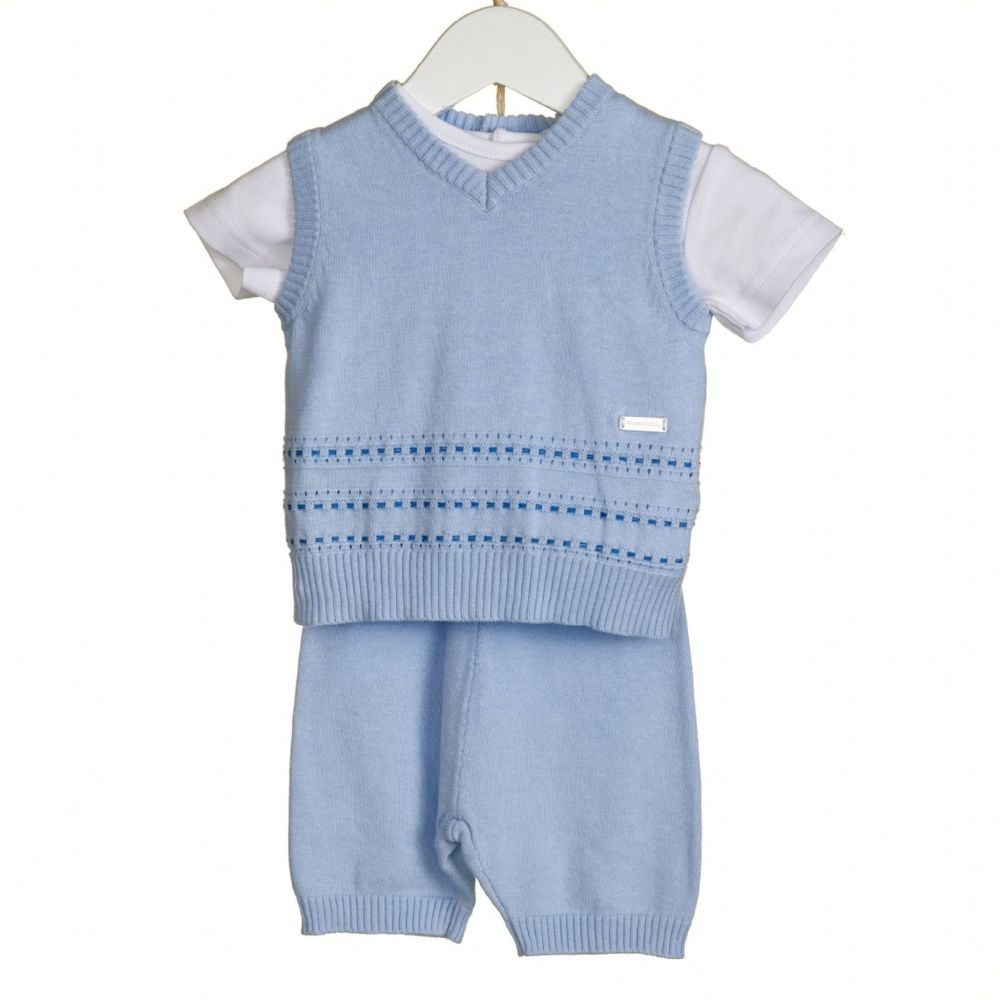 *SALE* Baby Boy Lovely Blue Stab Stitch 3 Piece Outfit with Top